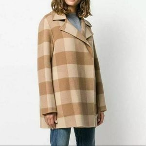 Theory Double-Faced Check Overlay Coat S NWT